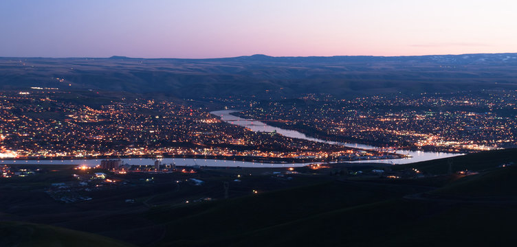 Aerial View Lewiston Idaho Bridge Bend Clearwater River Sunset