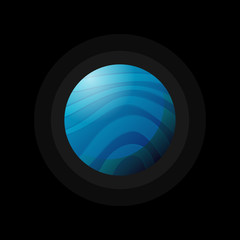 Flat design of blue planet with swirls placed on black backdrop.