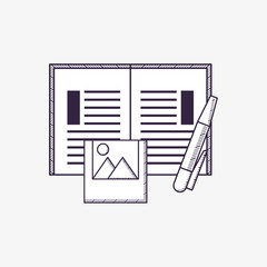 Office supplies design with book and pen and picture over white background, sketch design. vector illustration