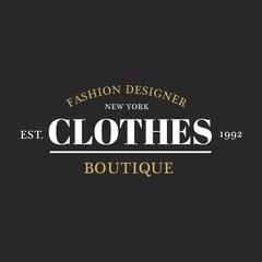 Illustration of boutique shop logo stamp banner