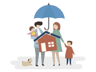 Illustration of home insurance protection