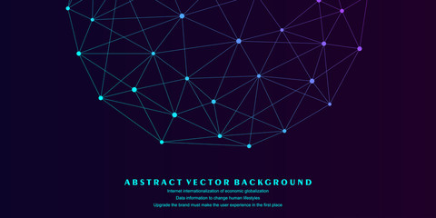 Low polygon mesh sphere, high tech vector background illustration;