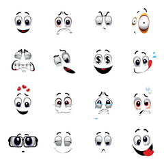 Set of various face emoji icons. Emoticons for web sites. Vector illustration of cartoon faces expressions. Collection of cute lovely emoticon emoji cartoon face.