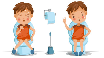 Children toilet seat boy is sitting on the toilet. Conversely, emotions and gestures. Constipation, normal digestive system, Bad, excellent. Children's Health Concept. Vector
