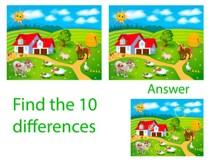 Children's illustration Visual puzzle: find ten differences from pets: cow, pig, cock, sheep on the farm