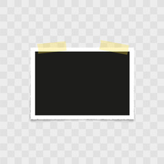 Realistic photo frame with sticky tape on transparent background. Vector.