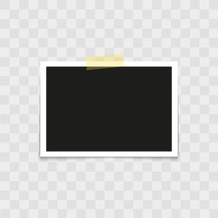 .Realistic photo frame with sticky tape on transparent background. Vector.