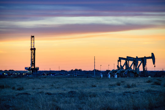 Shale Oil Rig and Pumpjack