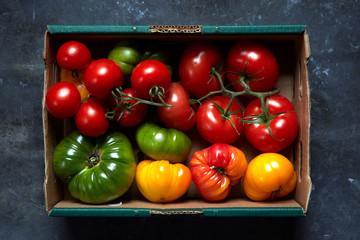 Ripe Fresh Summer Heirloom Tomatoes in Box