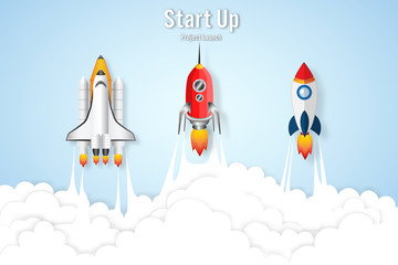 Rocket launch on the clouds sky as paper art, craft style and business Startup project concept. flat design vector illustration.