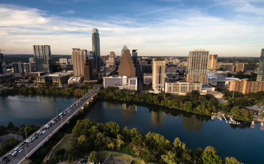 Aerial View Colorado River Downtown City Skyline Austin Texas USA