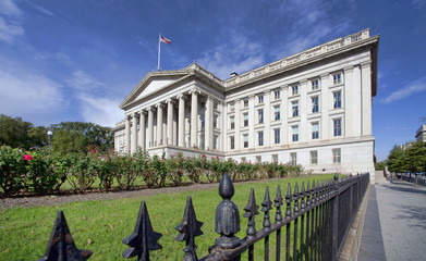 The Treasury Department Building in Washington, DC.