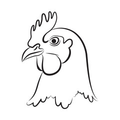 graphic chicken head, vector