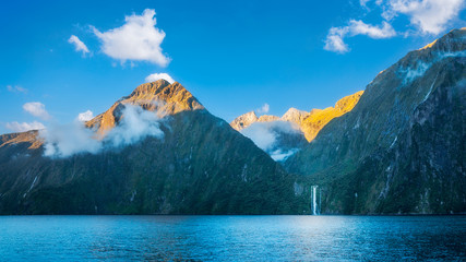 Milford Sound wild beauty with its spectacular cliffs, rain forests and waterfalls in New Zealand.