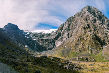 Panoramic View of Mount Talbot in Fiordland National Park in New Zealand.