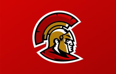 Colorful head logo of the Spartan warrior, Corinthian helmet, Greek soldier, hoplite. Identity sports club, vector illustration.