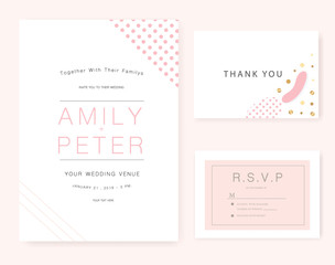 Wedding invitation card pink set