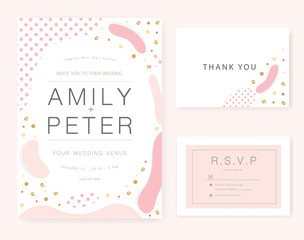Wedding invitation card pink set