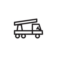 crane truck outlined vector icon. Modern simple isolated sign. Pixel perfect vector  illustration for logo, website, mobile app and other designs