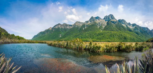 Mirror Lake Panorama in Fiordland National Park, New Zealand