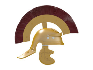 gold and metal roman helmet from side and front view isolated on a white background 3d rendering