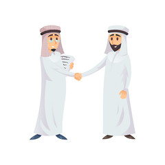Arabian business men in traditional clothes shaking hands on white background.