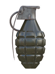 green and metal rusty grenade with scratches isolated on a white background 3d rendering