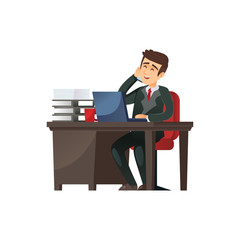 Vector character of businessman sitting at desk in office talking on phone.