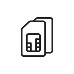 sim card 2, dual sim outlined vector icon. Modern simple isolated sign. Pixel perfect vector  illustration for logo, website, mobile app and other designs