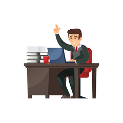 Vector businessman at table in office using computer gesturing on white.