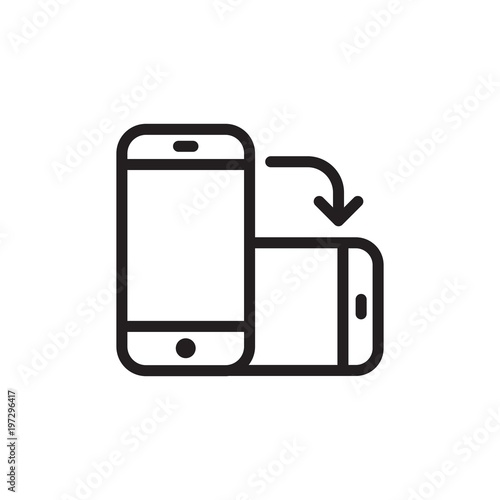 rotate phone, change screen orientation outlined vector icon  Modern