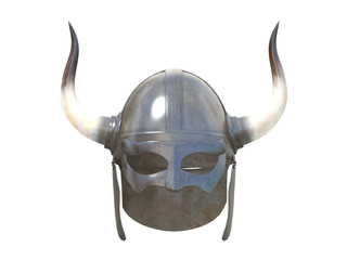 old metal viking helmet front or side view isolated on a white background 3d rendering