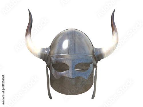 old metal viking helmet front or side view isolated on a white ...