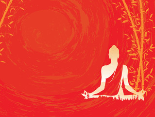 Buddha vector, Abstract Buddha with bamboo on red background, Buddha and nature, meditation - illustration
