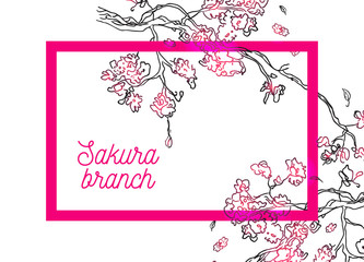 Vector banner with pink frame and black sketch of sakura branch on white backdrop.