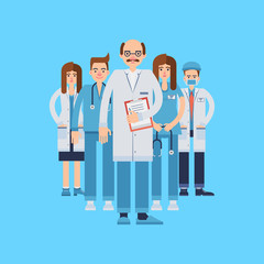 Vector set of medical staff wearing uniform of various departments on blue backdrop.