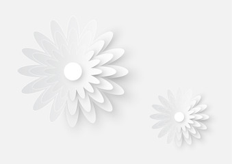 illustration of white paper cutting flower art on white paper texture background