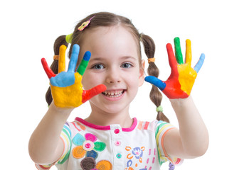 cute kid girl have fun coloring her hands
