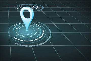 Navigation symbol on the gray grid. 3d rendering.