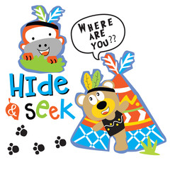 hide and seek cartoon vector art