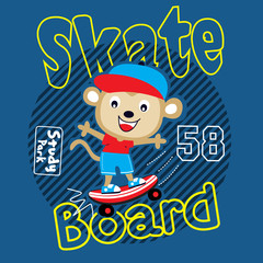 monkey skater cartoon vector art