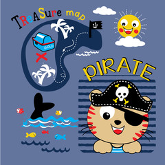 pirate animal cartoon vector
