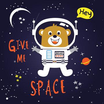 give me space animal cartoon vector art