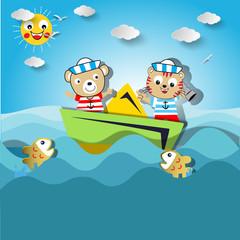 funny sailor animal cartoon paper art illustration