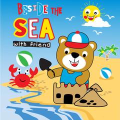 summer holiday animal cartoon vector