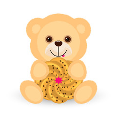 A yellow teddy bear is holding a cookie and showing the tongue.Vector illustration