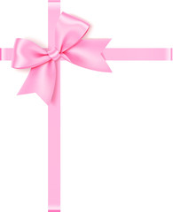 Decorative vector pink bow with ribbon for gift decor isolated on white background.