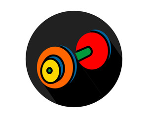 black circle barbell gym sports equipment tool utensil image vector