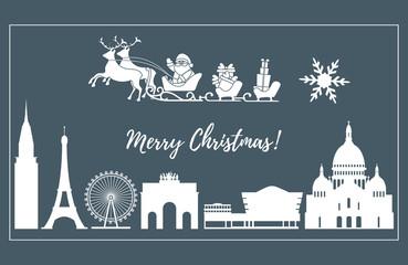 Santa Claus in sleigh flying over buildings.