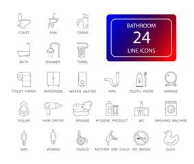 Line icons set. Bathroom pack. Vector illustration